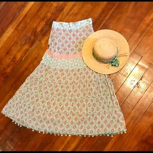 Boho maxi skirt with abalone shell hem accent